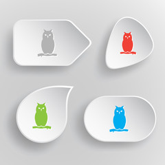 Owl. White flat vector buttons on gray background.