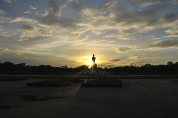 Beautiful Sunset with Buddha Image
