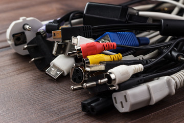 different cables on the table