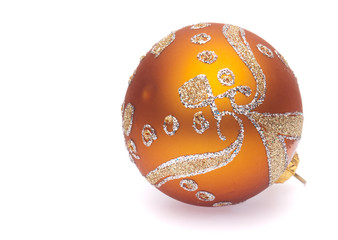orange christmas ball on white background