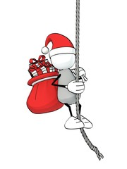 little sketchy man with santa hat and bag climbing up a rope