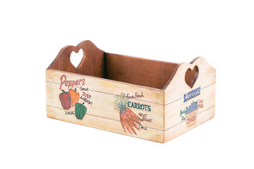 Handmade wooden box for vegetables.