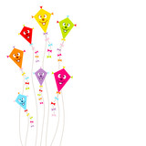 Fototapety Kites Face Color Ribbons Background