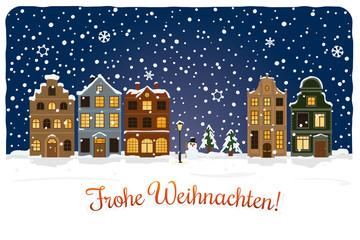 Weihnachtskarte Stadt im Schnee Vektor