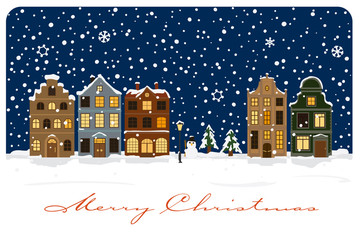 Winter Village Christmas Greetings Vector Illustration