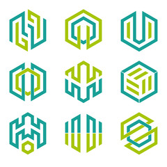 Abstract hexagon shaped vector design elements