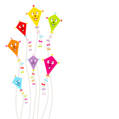 Kites Face Color Ribbons Background