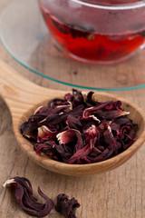 Hibiscus tea on wooden surface
