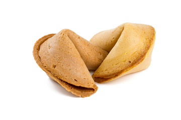 two fortune cookies isolated on white background