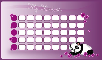 School timetable with panda and flowers