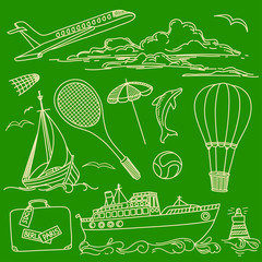 Freehand Sketches of Touristic Items and Transport