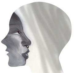 Human profile with black woman profile