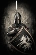 Medieval knight against stone wall - 69422526