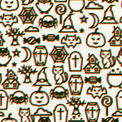 Happy halloween seamless pattern  with effect overlay.
