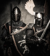 Tow medieval knights in full armour