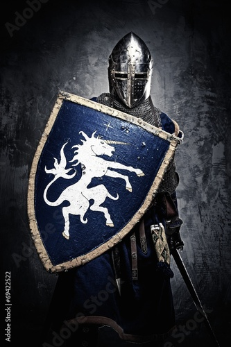 Medieval knight against stone wall - 69422522