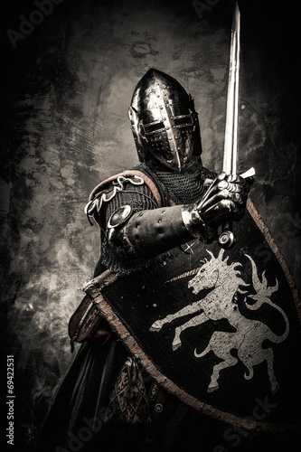 Medieval knight against stone wall - 69422531