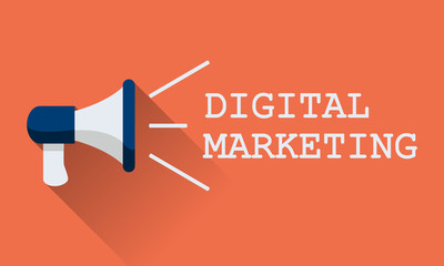 Flat vector icon of megaphone for social media marketing concept