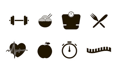Flat icons set of fitness sport and healthy lifestyle style