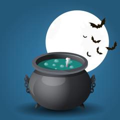 Illustration of witches cauldron on background