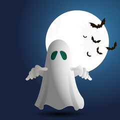Illustration of ghost on bacground