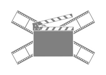 Grey cinema icon on white background