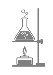 Grey laboratory equipment on white background