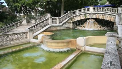 Static view on fountain in park Jardin Darcy, Dijon
