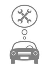 Grey car icon on white background