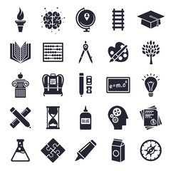 Education and learning theme, black and white icons.