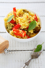 vegetable pilaf in a white bowl