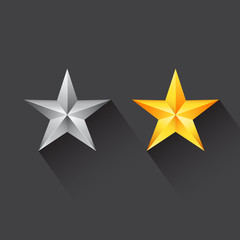 Star icon with silver star and gold star