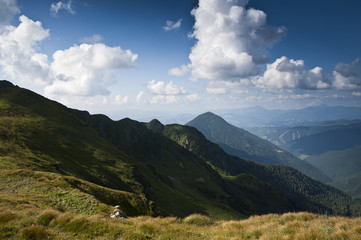 Bird's-eye view on ridges of the Carpathian mountains