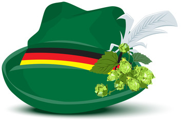 Green hat with a feather and hops
