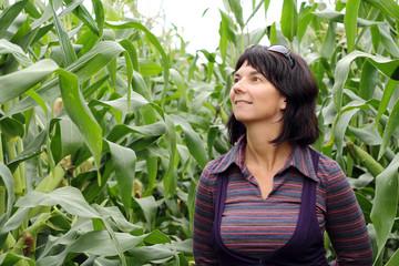 девушка собирает урожай