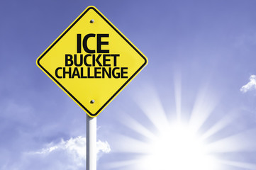 Ice Bucket Challenge road sign with sun background