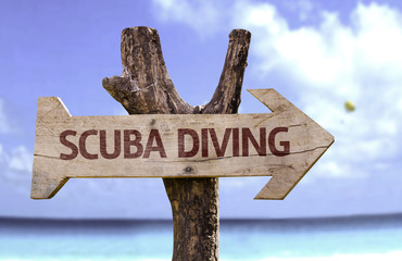 Scuba Diving wooden sign with a beach on background