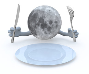 moon planet with hands and utensils in front of an empty plate