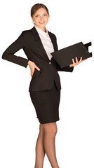 Businesswoman stand holding paper holder