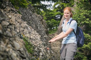 Hiker on a Narrow Alpine Trail
