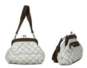 two views of grey women bag  on white background