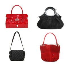 set of red and black women bags on white background