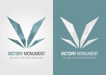 V Victory icon symbol from an alphabet letter V.