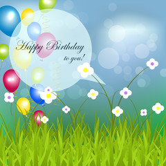 Happy birthday background with grass, flower and balloon