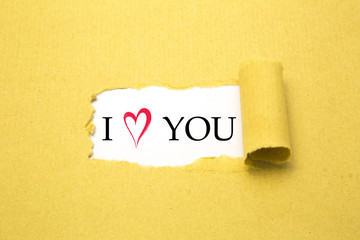 I love you text on white background with torn brown paper