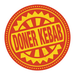 Abstract stamp or label with the text Doner Kebab