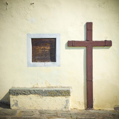 Wooden crucifix of a small country church
