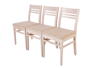 Row of chairs isolated on the white