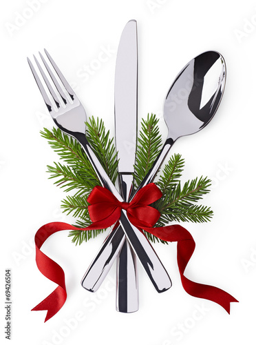 Staande foto Boord Spoon, fork and knife as christmas symbol celebration