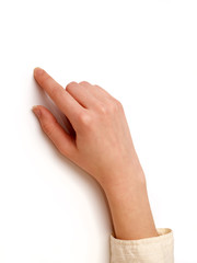 finger is pointing at the target on a white background